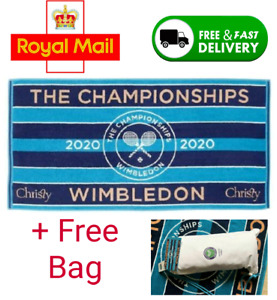 🔥 WIMBLEDON TOWEL BLUE CHRISTIES NEW 2020 IN COTTON BAG 🔥 FAST + FREE 🔥