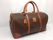 Auth CELINE Macadam Pattern PVC Brown Travel Boston Bag 45 Vintage 7A120220N