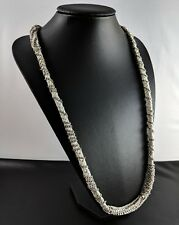 Vintage Grey-tone and Silver-tone Cotton Rope RHINESTONES Necklace by BR