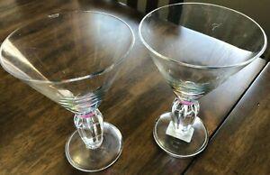 Two Merritt Diamond Martini Acrylic 12 OZ Glasses Rainbow Item 24060