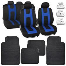 Black/Blue Elite Cloth Car Seat Covers & All Weather Heavy Duty Black Floor Mats