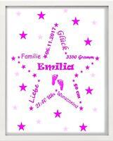 Bilderrahmen personalisiert - Baby - Großer Stern - Weiß - Geschenk - Geburt