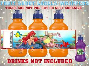 PERSONALISED LITTLE MERMAID CORAL FRUIT SHOOT Label / Wrappers Ideal Party Bag
