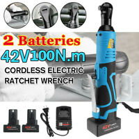 3/8'' 42V 100Nm Electric Cordless Ratchet Right Angle Wrench Tool Set +2 Battery