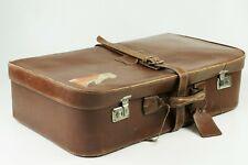 Valise marron ancienne cuir années 40 vintage leather suitcase koffer