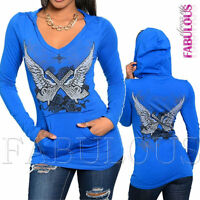 Sexy Women's Jumper Top Hoodie Size 6 8 10 12 14 Tattoo Print V-Neck XS S M L XL
