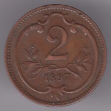 Austria-Habsburg 2 Heller 1897 Moneda De Bronce-Águila Imperial