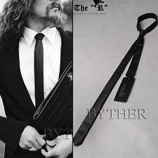 193d65de912 ByTheR Trendy Casual Formal Dress Chic Black Faux Leather Thin Necktie AU N