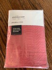Eddie Bauer Home Matelasse King Sham 100% Cotton Heirloom Coral Red New $59