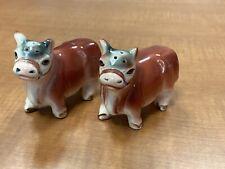 Vintage Hereford Bull Cow Salt and Pepper Shaker Ceramic Japan