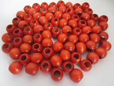 "Lot of 80 Orange Wood Round Macrame Wooden Craft Jewelry Beads 13/16"" 20mm"