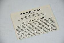 Replacement Parts: Parker Brothers Monopoly Game 1961 Instruction Manual Sheet