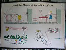 Carte Murale Tableau Vorsicht Courant 118x82 Danger Voltage Vintage Chart ~1960