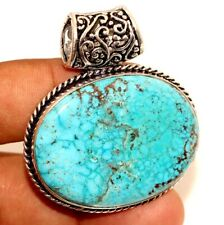 "Turquoise 925 Sterling Silver Plated Pendant 1.9"" Christmas Jewelry GW"