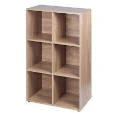 6 Cube Oak Modular Bookcase Shelving Display Shelves Storage Unit Wood Door New