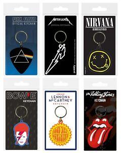 Genuine Bands Rubber Keyring Key Fob - Rock Pop Music Beatles AC/DC Nirvana