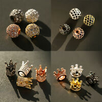10 Pcs Cubic Zirconia Crown Balls Brass Micro Pave Crown Connector Spacer Beads