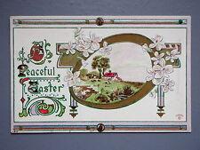 R&L Postcard: Art Design, Easter Flower Design Embossed Art Nouveau