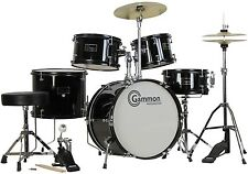 New Black Drum Set 5 Piece Junior Complete Child Kids Kit with Stool Sticks