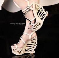 Womens Buffterfly High Heels Wedge Platform Peep Toe Ankle Strap Shoes Sandals