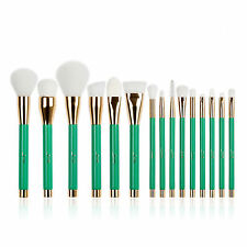 Jessup 15Pcs Foundation Makeup Brushes Set Powder Eyeshadow Cosmetics Kits Green