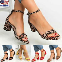 US Womens Low Block Heel Ankle Strap Peep Open Toe Buckle Sandals Shoes Size