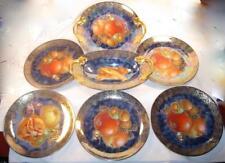 Fairyland Butterfly & Fruit Rosenthal Bavaria 7 Piece Dessert Set Blue Luster O