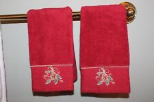 LENOX HOLIDAY RIBBON AND HOLLY FINGER TIP TOWELS SET OF 2 NEW #7726