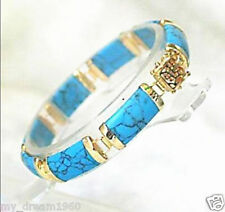 Natural Blue Turquoise Gemstone Fortune Lucky Link Gold Plated Bracelet