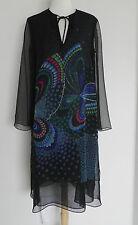 Vtg Dress Chiffon Mid-Calf Butterfly Triple Layer Multi-Color Long Slv SizeM/L