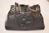 Gucci Soho Black Pebbled Leather Gold Double Chain Tassel Shoulder Handbag