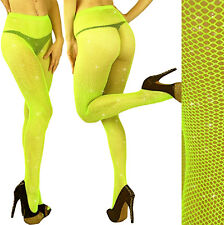 FLO YELLOW-Silver GLITTER FISHNET PANTYHOSE/TIGHTS/CROSSDRESSER/Neon/DRAG QUEEN