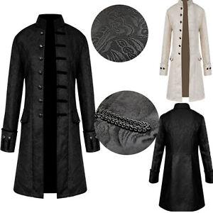 Herren Vintage Mantel Mittelalter Gothic Steampunk Langer Kostüm Retro Fasching