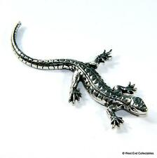 Lizard Pewter Pin Brooch Badge - UK Made - Chameleon Iguana Dragon Gecko Reptile