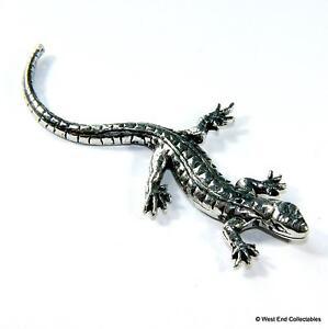 Lizard Pewter Pin Brooch Badge - UK Made - Chameleon Iguana Dragon Gecko Reptile