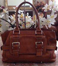 Michael Kors Vintage Tan Brown Leather Buckle Satchel Shoulder Handbag Purse EUC