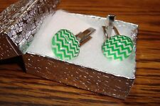 Acrylic Dome Cuff links 1 Pair (Two) Silver Plated - Green & Silver Color Waves