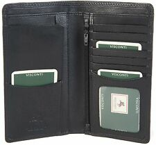 VISCONTI BLACK SOFT LEATHER LONG SLIM TRAVEL 8 CARD GENTS JACKET WALLET HT12