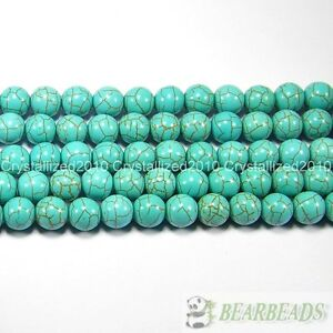 Howlite Turquoise Gemstone Round Loose Beads 2mm 4mm 6mm 8mm 10mm 12mm 15.5''