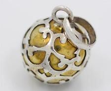 Sterling Silver Small Bali Harmony Chime Ball Pendant w Gold Color Design. 12mm