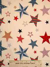 Stars & Stripes Patriotic Cream Blue Star Toss Riley Blake Cotton Fabric YARD