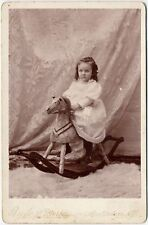 HOBBY HORSE + CUTE LITTLE GIRL BY BEEBE   MORSE AMSTERDAM, N. Y. CABINET PHOTO