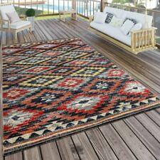 Outdoor Patio Rug Colourful Vintage Design Area Carpet Low Pile Waterproof