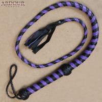Ardour Crafts Plait Genuine Real Leather Bull Whip, Purple
