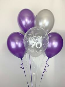30 Purple, Silver and 70th Aged Range Pearlised Latex Balloons