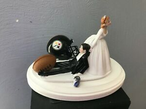 Pittsburgh Steelers Cake Topper Bride Groom Wedding Day Funny Football Theme
