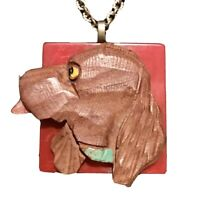 Ooak Cocker Spaniel Necklace Carved Wood, Red Bakelite, Brass & Red Glass Chain