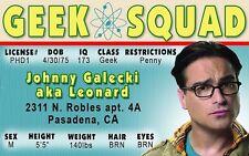 The Big Bang Theory LEONARD plastic collector card Drivers License