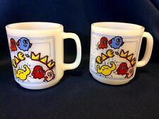 2 Vintage Glasbake Pac Man Midway Arcade Game Mugs Microwave Safe USA Made NICE!