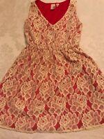 Women's ANTHROPOLOGIE Francescas Birdcage cream/red lace short dress sz S!